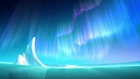 Aurora on sea at the night loop royalty free illustration