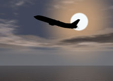 Aurora sea plane - Sunset above the horizon. Aurora sea - Sunset above the horizon with plane shadow and clouds / Holiday concept stock illustration