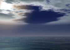 Aurora sea - Sunset above the horizon. With clouds - Sun covered by clouds royalty free illustration