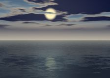 Aurora sea - Sunset above the horizon. With clouds - Intense evening blue vector illustration