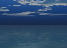 Aurora sea - Sunset above the horizon. With clouds / More blue vector illustration
