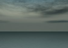 Aurora sea - Sunset above the horizon. With clouds / Very grey sky without sun vector illustration