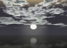 Aurora sea - Sunset above the horizon. With clouds - Very dark royalty free illustration