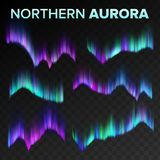 Aurora Set Vetora do norte Fenômeno mágico brilhante da noite polar do céu Fundo transparente preto Aurora abstrata ilustração stock