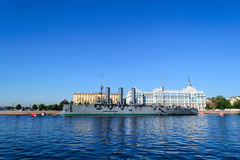 Aurora in St. Petersburg. The cruiser . One of the most popular attractions in St. Petersburg. The ship Aurora on the Neva. The symbol of the revolution Royalty Free Stock Image