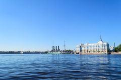 Aurora in St. Petersburg. The cruiser . One of the most popular attractions in St. Petersburg. The ship Aurora on the Neva. The symbol of the revolution Royalty Free Stock Photography