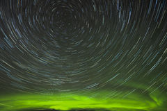 Aurora star trails. Aurora and star trails in Alaska Royalty Free Stock Image