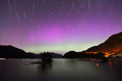 Aurora and Star Trails at Furry Creek. Located on Howe Sound in the Squamish-Lillooet Regional District Royalty Free Stock Photography