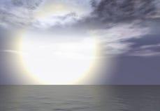 Aurora - Sunset above the sea horizon. Aurora sea / Suspicious sky / Big sun stock illustration