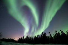 Aurora swirl near Fairbanks. Stars and Aurora near fairbanks Royalty Free Stock Images