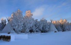 Aurora Village a Yellowknife fotografia stock libera da diritti