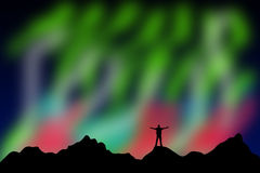 Aurora. Watching the aurora or northern lights Stock Image