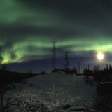 Aurora y antenas de la luna Fotografía de archivo libre de regalías