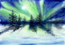 Auroralandschaftsaquarellmalerei Stockfotografie