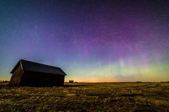Auroras in the countryside. Auroras appeared after sunset in Finnish countryside Royalty Free Stock Photography