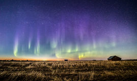 Auroras in the countryside. Auroras appeared after sunset in Finnish countryside Stock Photo