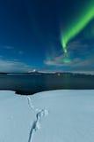 Auroratanz über Winterlandschaft Lizenzfreie Stockfotos
