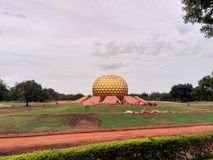 Auroville Globe. In the village of Auroville in India Stock Photo