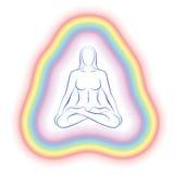 Aury medytaci ciała Subtelna kobieta Zdjęcia Stock