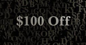 $100 aus- 3D übertrugen metallische gesetzte Schlagzeilenillustration Stockfoto