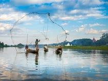 Aus den Schilfen heraus, die auf dem Teich, drei Angelruten heraus haften wachsen Stockfotos