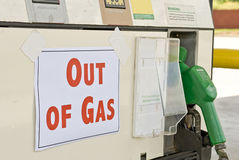 Aus Gas (3) heraus Stockbild