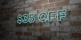 AUS- glühende Leuchtreklame $35 auf Steinmetzarbeitwand - 3D übertrug freie Illustration der Abgabe auf Lager Lizenzfreie Stockfotos