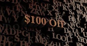 $100 aus- hölzerne 3D übertrugen Buchstaben/Mitteilung Stockbilder