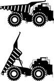 Aus-Landstraßen-LKWs Schwere Bergbau-LKWs Vektor Stockbilder
