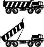 Aus-Landstraßen-LKWs Schwere Bergbau-LKWs Vektor Stockfoto
