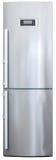 aus rostfreiem Stahl Vorderansicht des modernen Kühlschranks stockfotografie