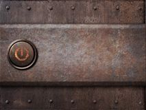 An-/Aus-Schalter auf rostiger Metallbeschaffenheit als Dampfpunk Lizenzfreies Stockbild