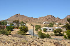 Aus town in Namibia. Aus town is a settlement in the Karas Region of southern Namibia. Aus Mountains in the Namib Desert at background Royalty Free Stock Photo