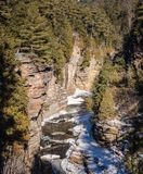 Vertical view of Ausable Chasm Gorge. Ausable Chasm is a sandstone gorge and tourist attraction located near the hamlet of Keeseville, New York, United States Royalty Free Stock Photos