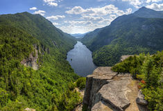 Ausable Lake Summer Panorama. A magnificent view of Lower Ausable Lake from the Indian Head Lookout in the high peaks region of the Adirondack Mountains of New Royalty Free Stock Photos