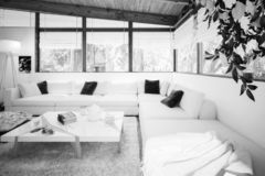 Patio conversion B&W. 3d visualization royalty free stock photography