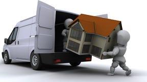 Ausbaumänner, die einen Packwagen laden lizenzfreie abbildung