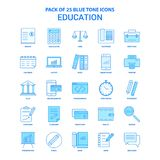 Ausbildung blaue Tone Icon Pack - 25 Ikonen-Sätze vektor abbildung