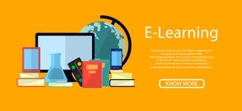 Ausbildung Infographic Flache Vektorillustration für E-Learning und on-line-Bildung lizenzfreie abbildung