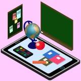 Ausbildung Infographic Isometrische Illustration für E-Learning stock abbildung