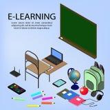 Ausbildung Infographic Isometrische Vektorillustration für E-Learning und on-line-Bildung lizenzfreie abbildung