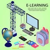 Ausbildung Infographic Isometrische Vektorillustration für E-Learning und on-line-Bildung vektor abbildung
