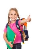 Ausbildung, Mädchenschultasche und Daumen oben Stockfotos