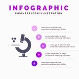 Ausbildung, Mikroskop, Schritt-Darstellungs-Hintergrund Wissenschafts-fester Ikone Infographics 5 stock abbildung
