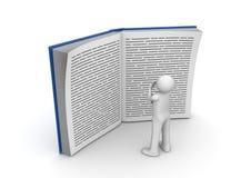 Ausbildungsansammlung - Mann, der sehr großes Buch liest Stockbild