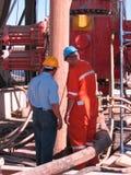 Ausblasen-Verhinderer auf Erdölbohrungs-Anlage stockfotos