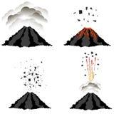 Ausbrechender Vulkan Spitze des Berges Brennender Krater stock abbildung