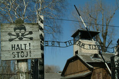 auschwitz показал знак остановки входа к Стоковая Фотография RF