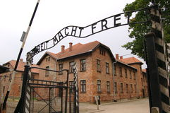Auschwitz. The sign over the gates of Auschwitz  Arbeit macht frei - Work will make you free Royalty Free Stock Image