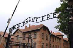 Auschwitz. The sign over the gates of Auschwitz  Arbeit macht frei - Work will make you free Stock Images